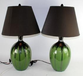 Pair of slip glazed ceramic lamps