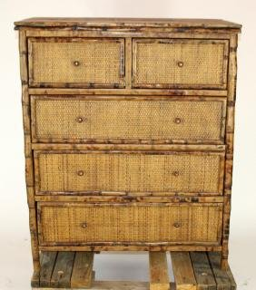 2 over 3 bamboo & rattan chest of drawers
