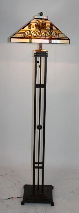 Arts & Crafts style stained glass floor lamp