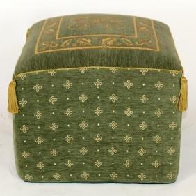 Velvet upholstered poof foot stool