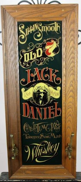 Jack Daniels reverse painted mirror with coat rack