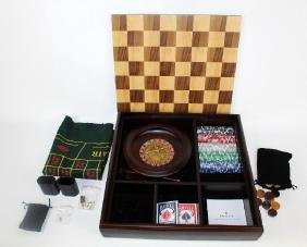 Multi game board set in wooden box