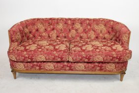 American Victorian tufted upholstered parlor settee