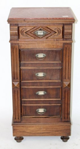 French Henri II walnut chevet with marble top