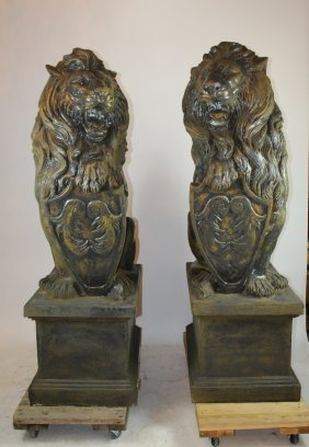Pair of grand scale cast entry lions with shields