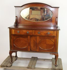 Queen Anne sideboard in mahogany with oval mirror