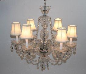 6-arm crystal chandelier