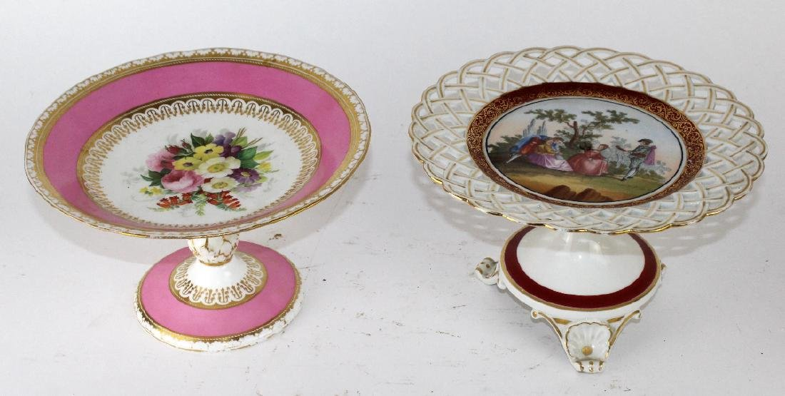 Lot of 2 English porcelain compotes