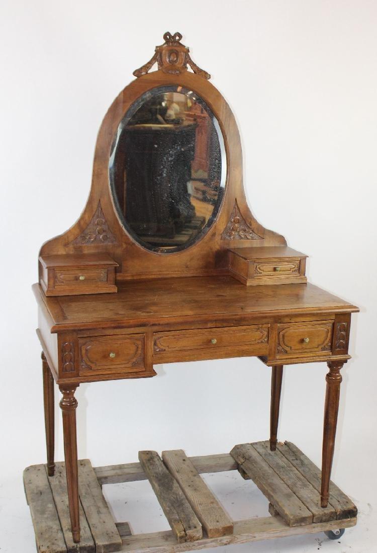 French Louis XVI vanity table in walnut