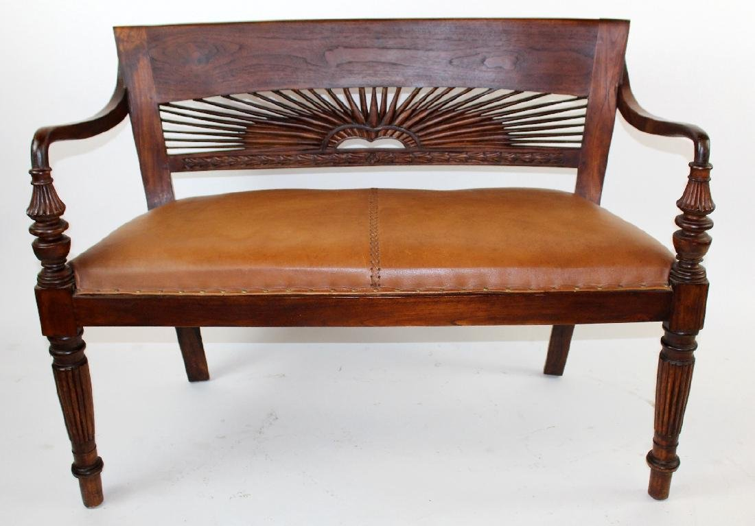 Mahogany bench with leather seat
