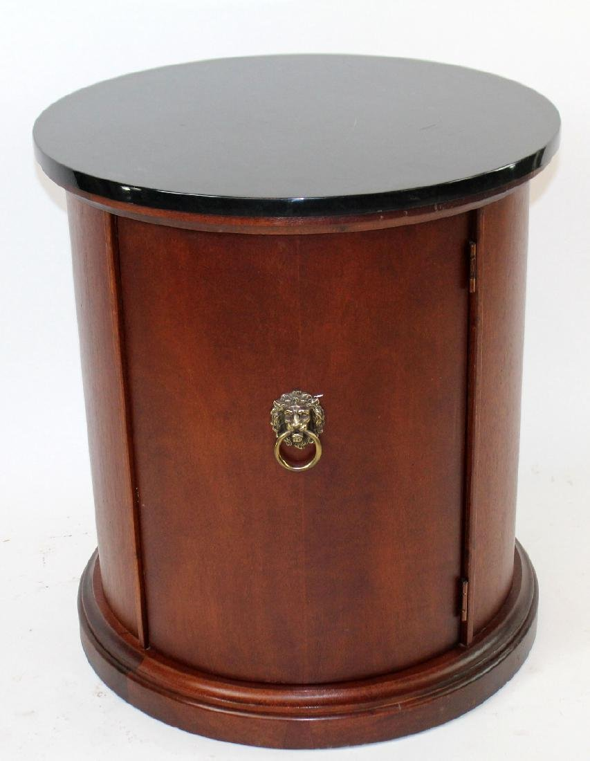 Mahogany round side table with black marble