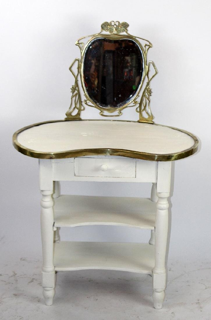 Painted vanity with Art Nouveau style mirror