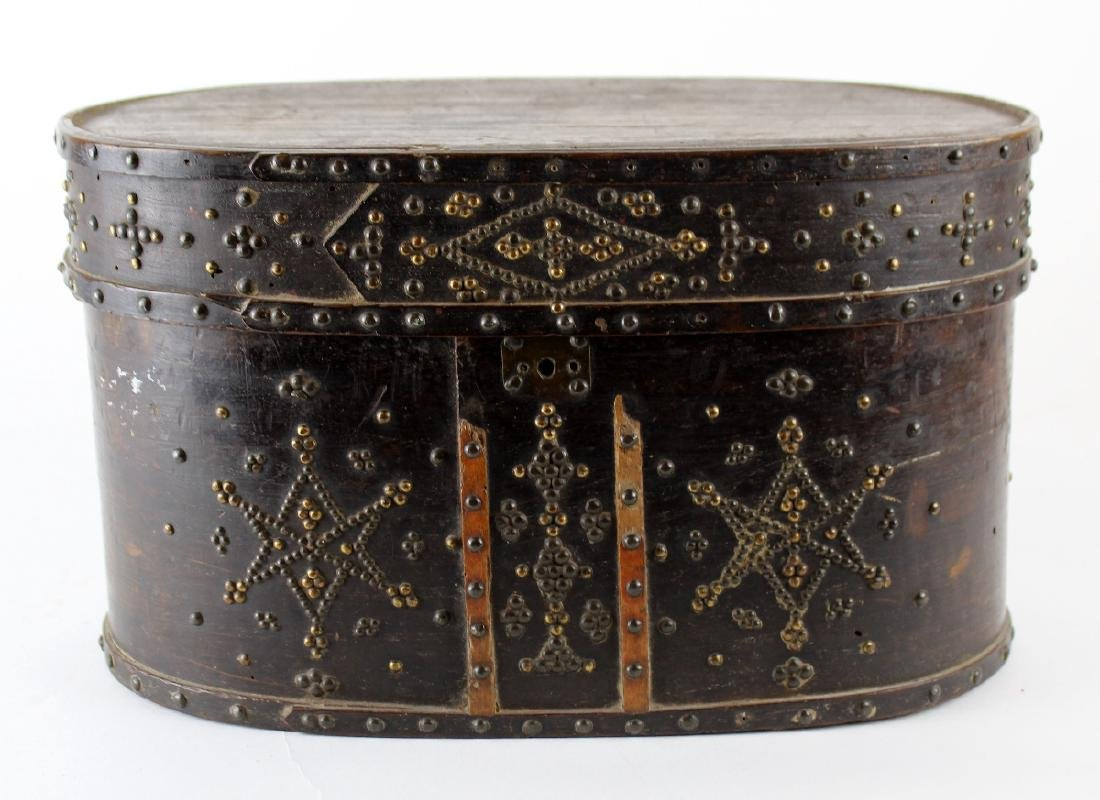 Antique oval wooden box