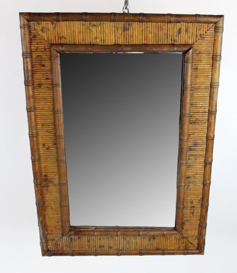 Antique bamboo framed mirror