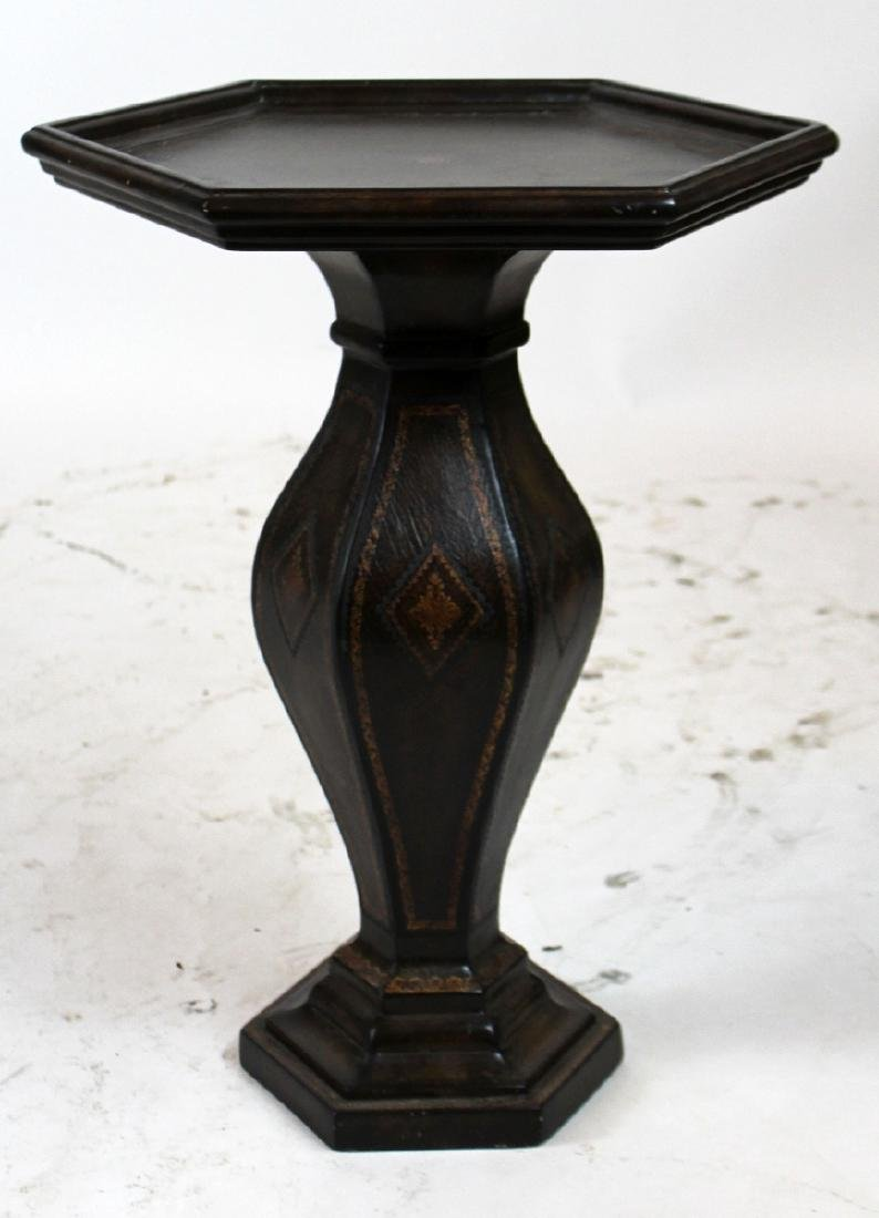 Leather wrapped octagonal side table