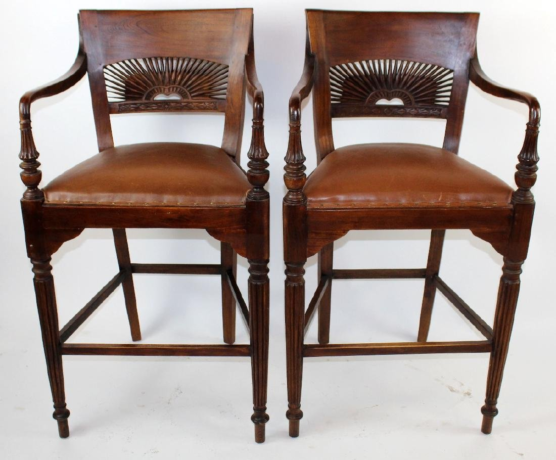 Pair of mahogany barstools
