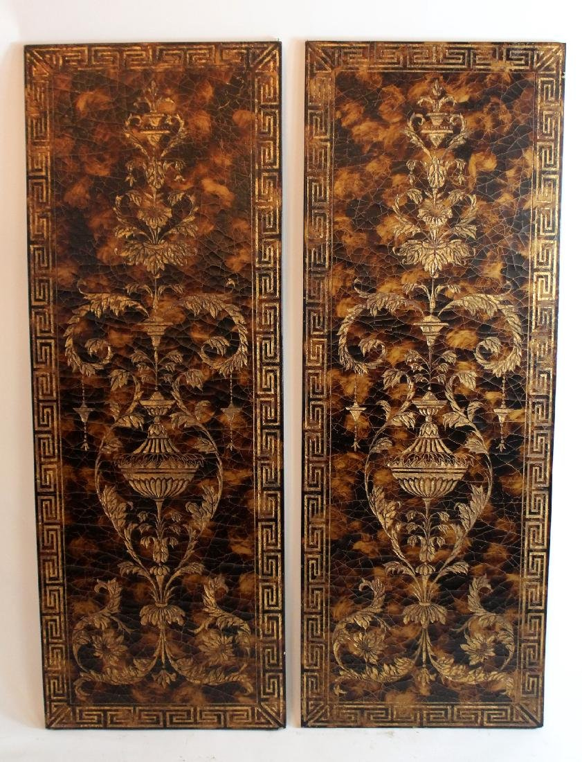 Pair of decorative crackle finish panels