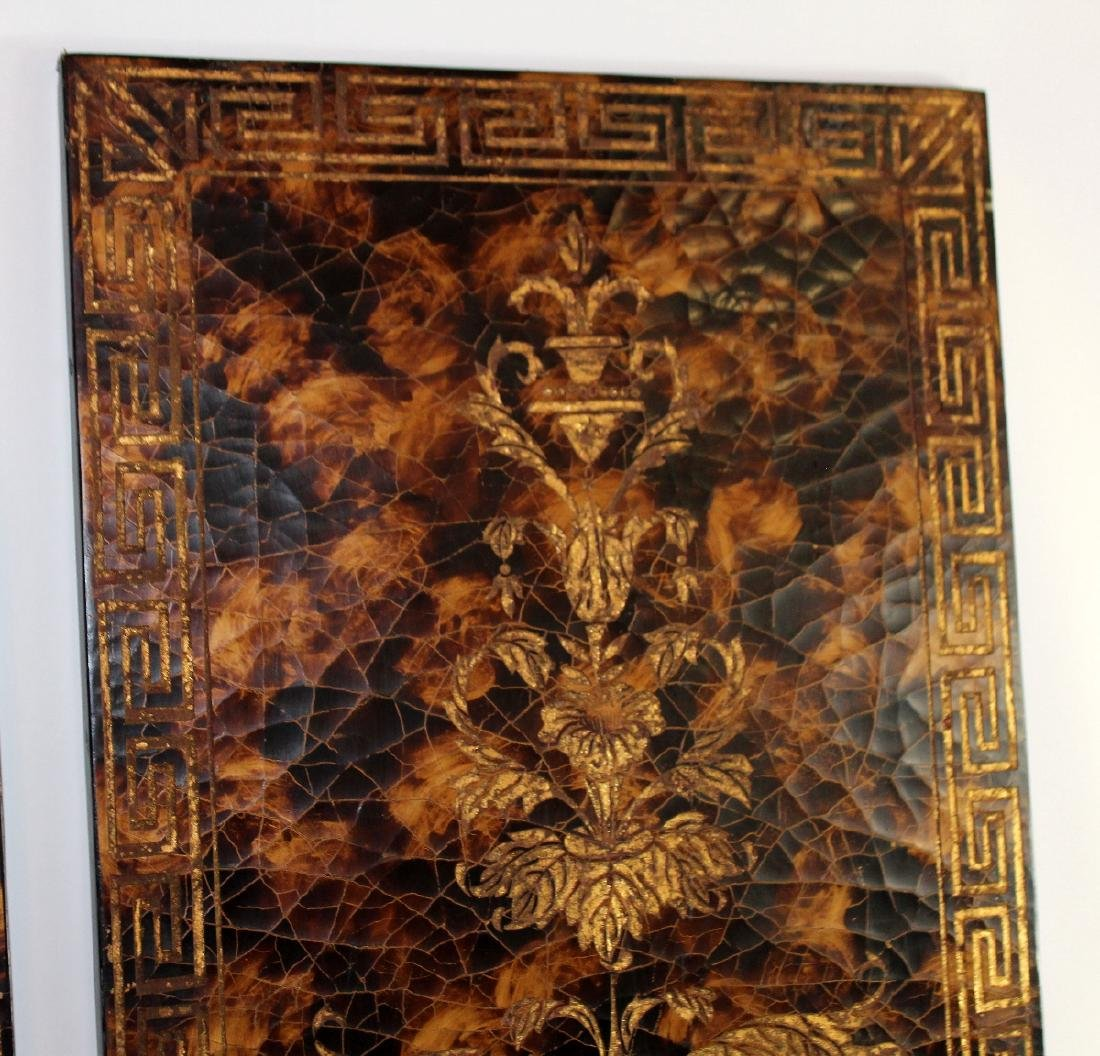 Pair of decorative crackle finish panels - 2