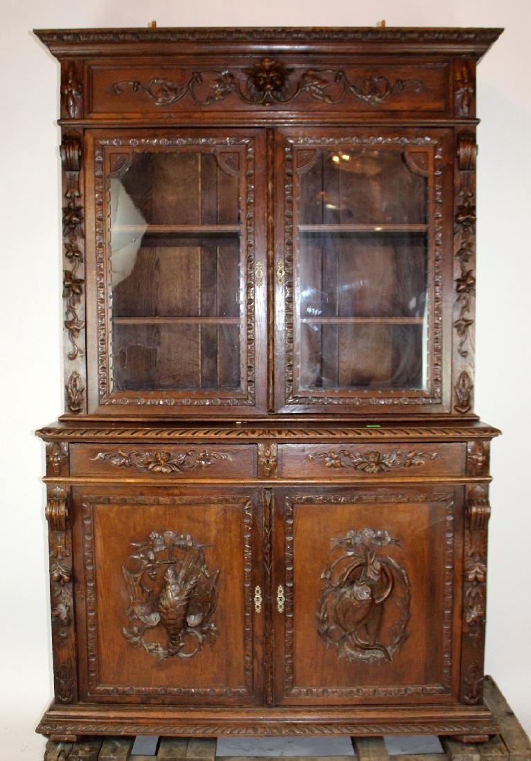 French Louis XIII carved oak hunt buffet