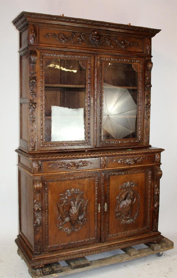 French Louis XIII carved oak hunt buffet - 2