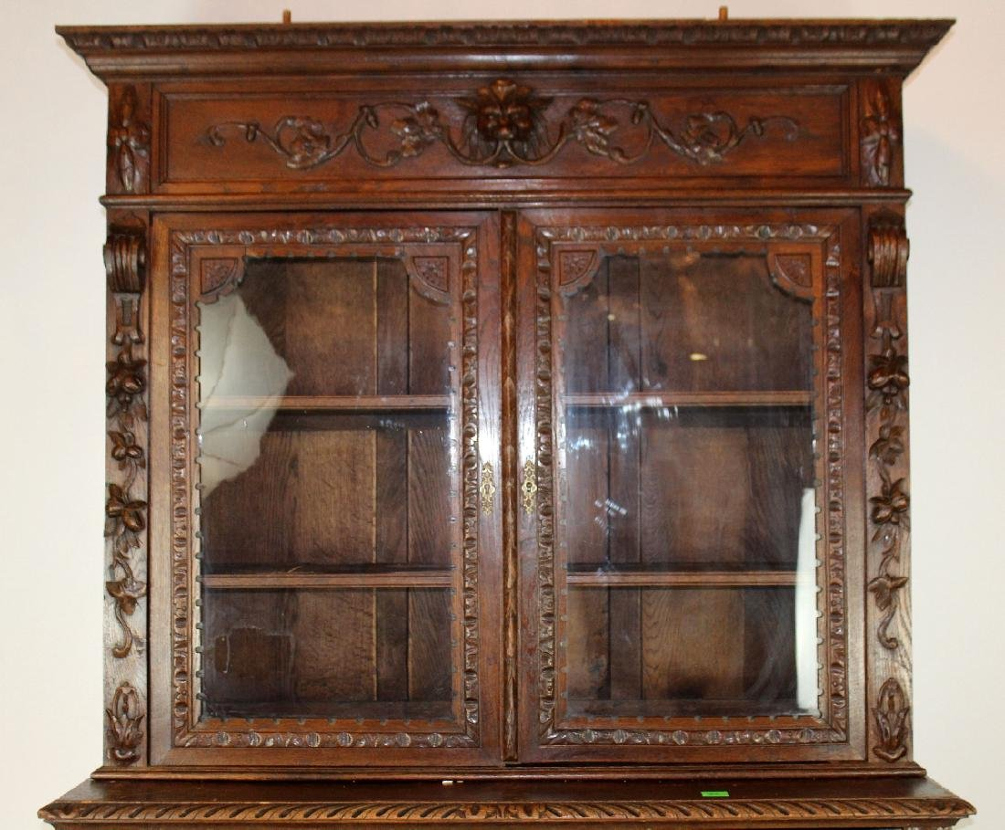 French Louis XIII carved oak hunt buffet - 4