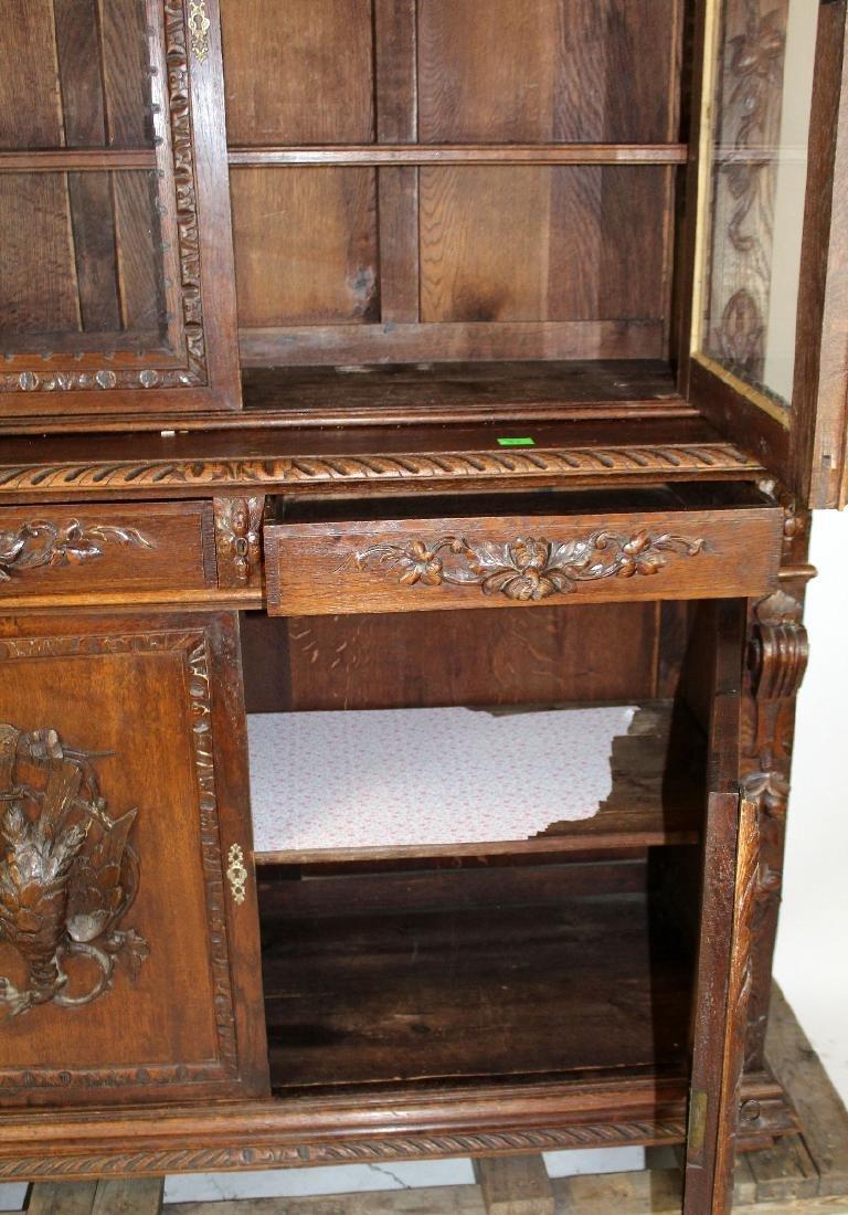 French Louis XIII carved oak hunt buffet - 6