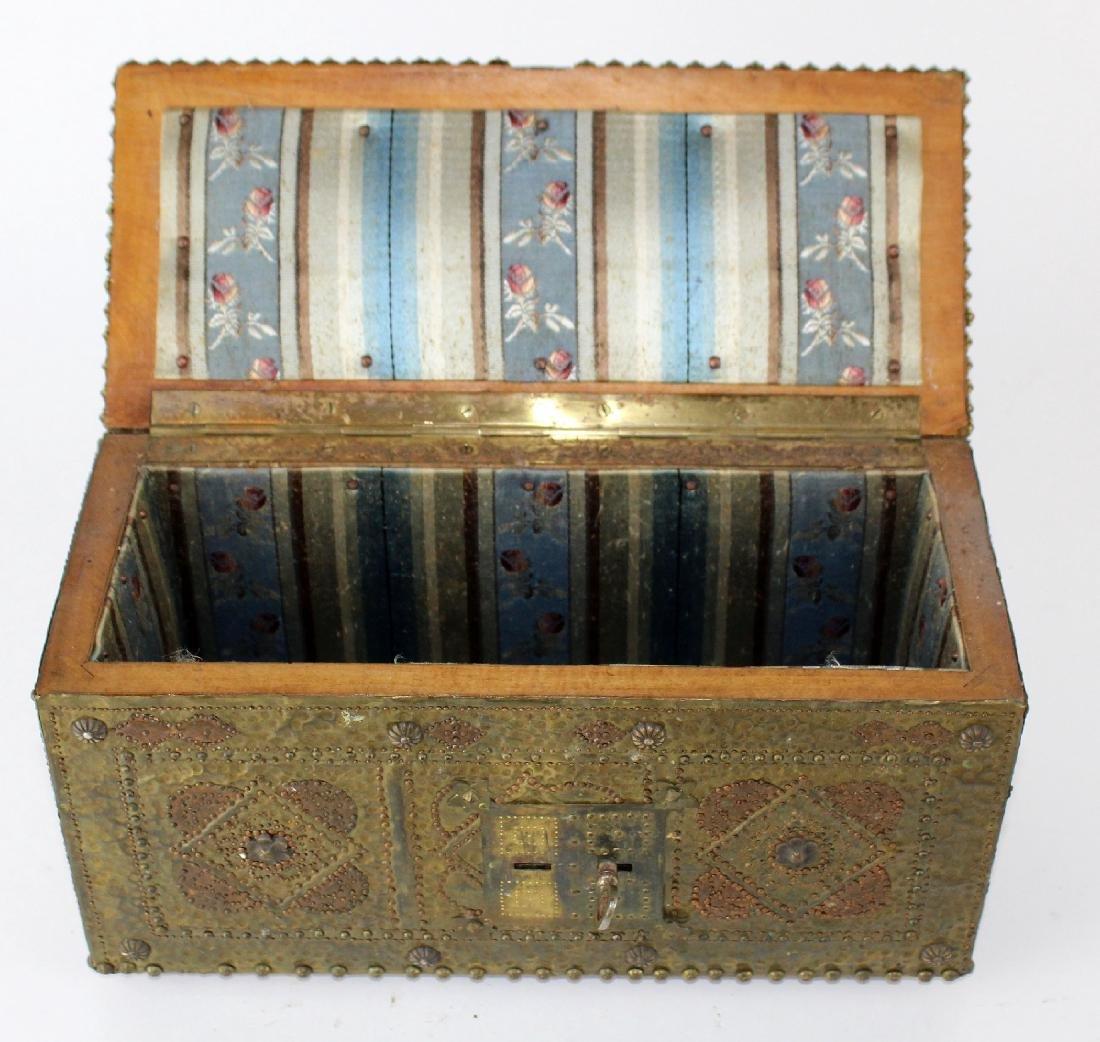 French hammered brass dresser box - 2