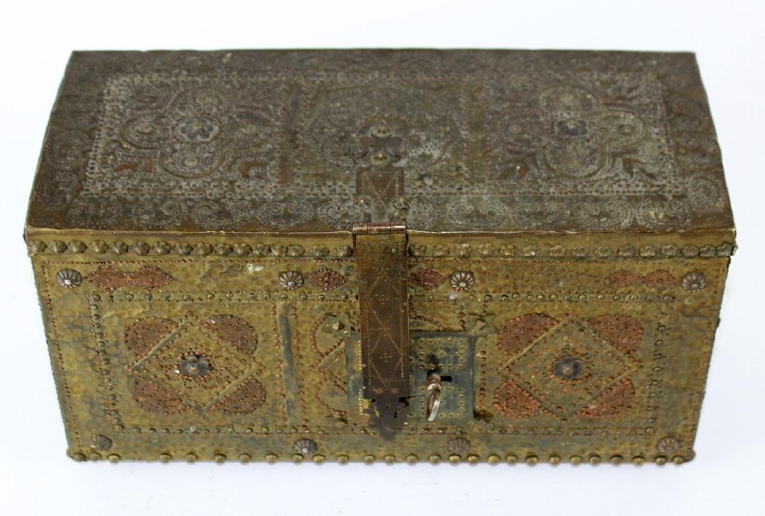 French hammered brass dresser box - 3