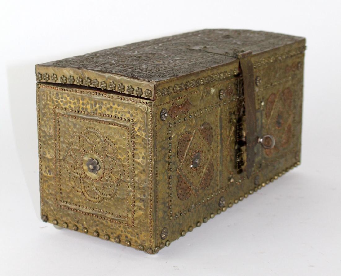 French hammered brass dresser box - 4