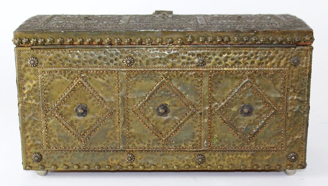 French hammered brass dresser box - 5