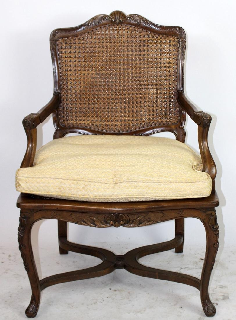 French Louis XV style cane armchair