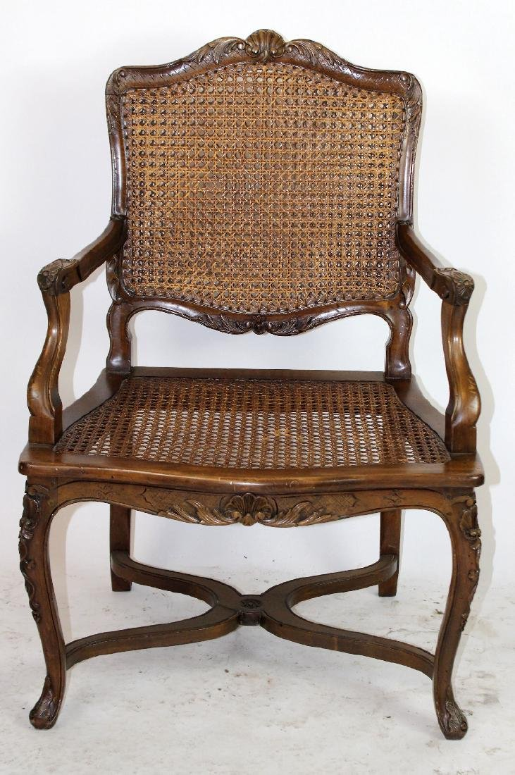 French Louis XV style cane armchair - 5