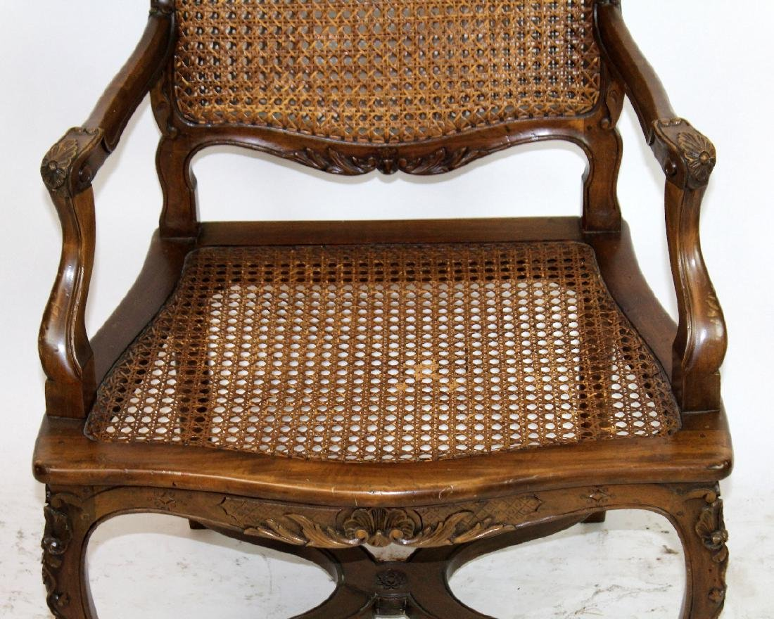 French Louis XV style cane armchair - 6