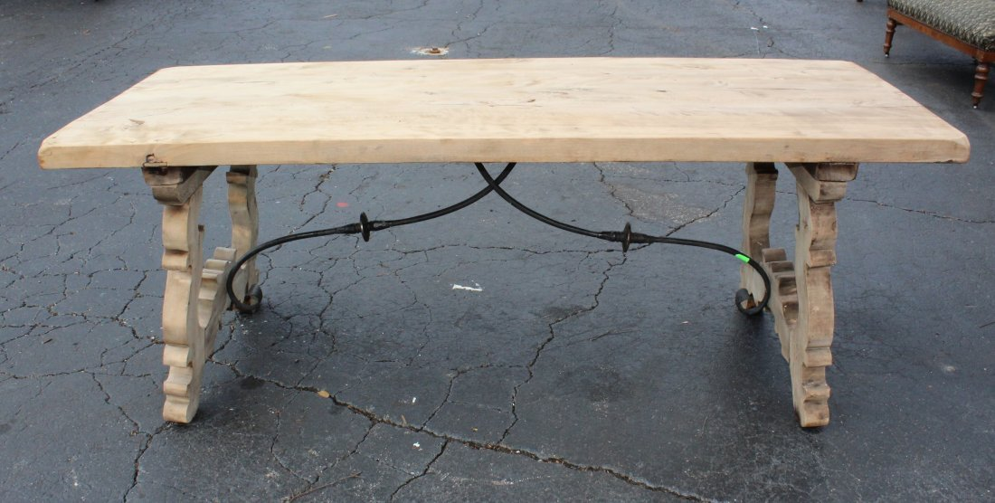 Spanish trestle table in bleached walnut