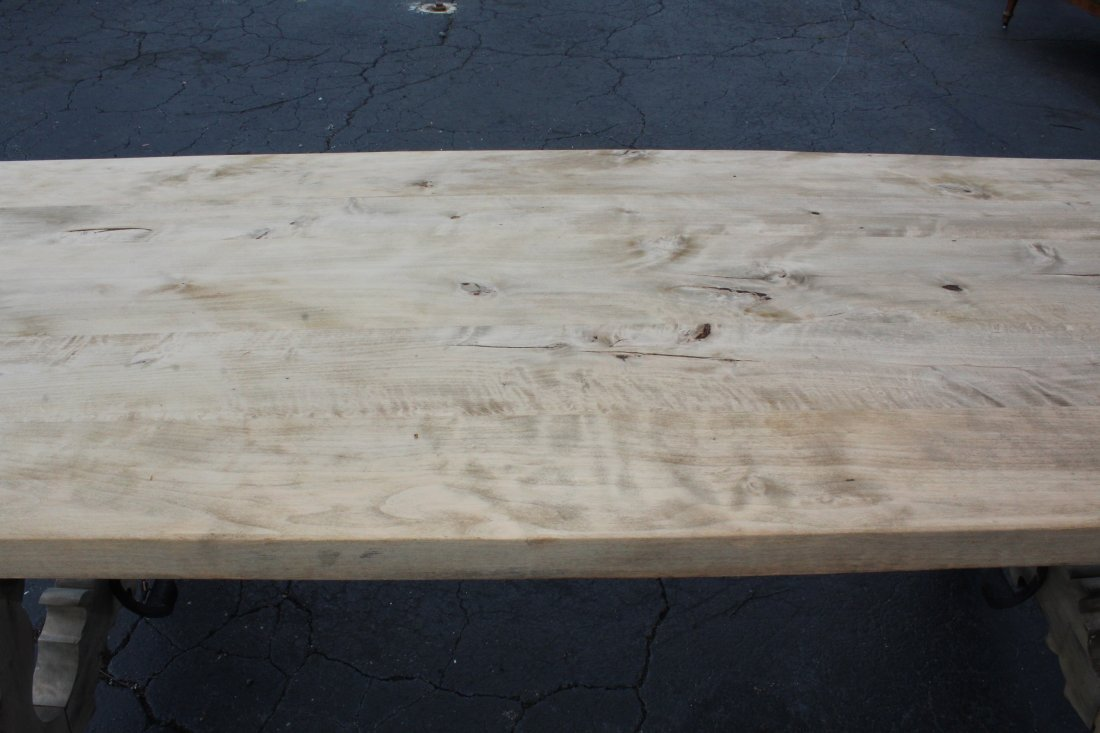 Spanish trestle table in bleached walnut - 3