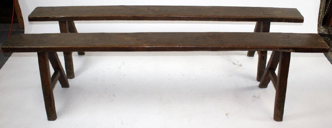 Pair of French backless benches