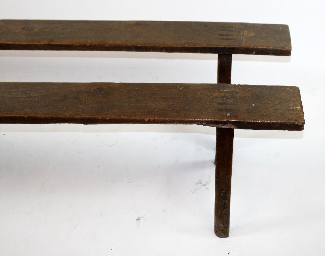 Pair of French backless benches - 3