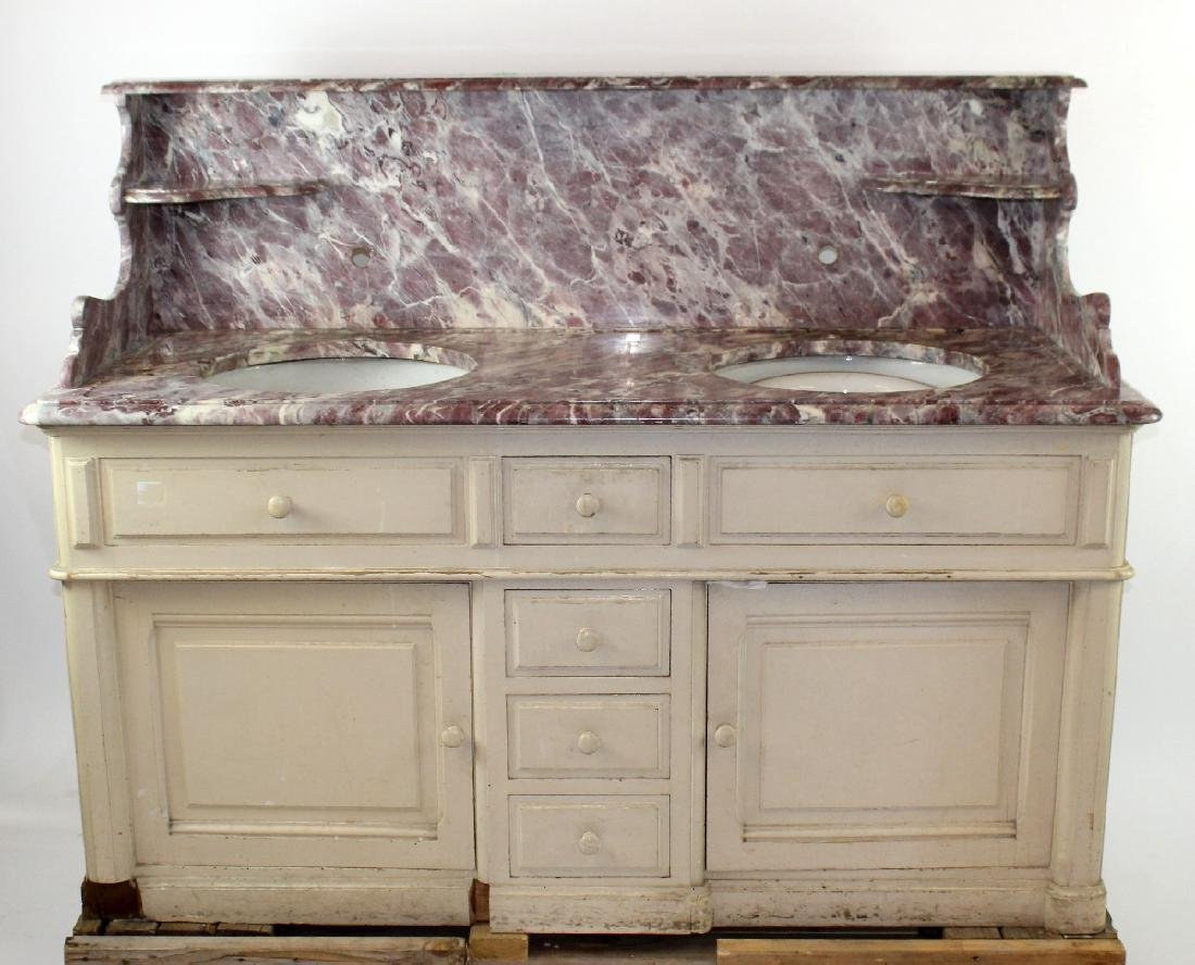 French painted double lavabo