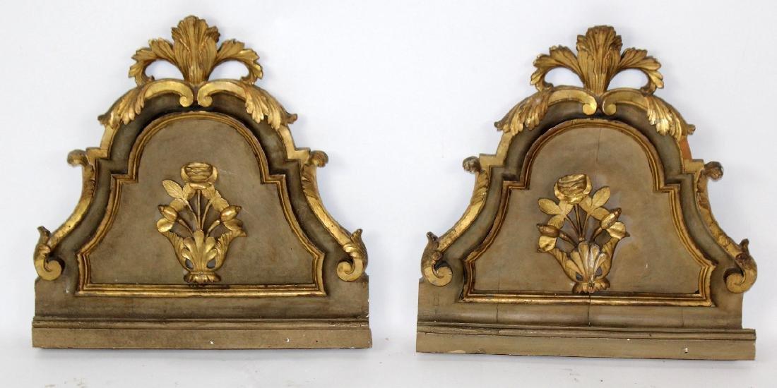 Pair of antique Italian gilt wood fragments
