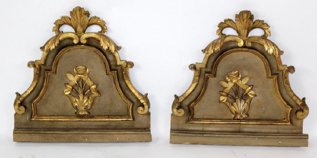 Pair of antique Italian gilt wood fragments