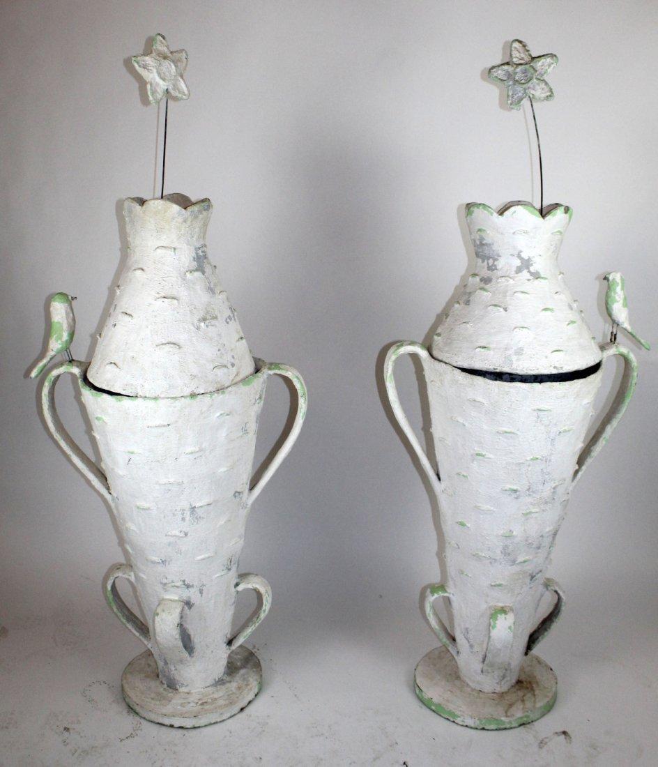 Pair French faux bois bark vases