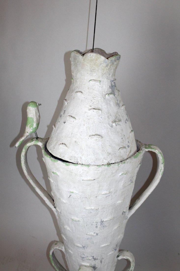 Pair French faux bois bark vases - 2