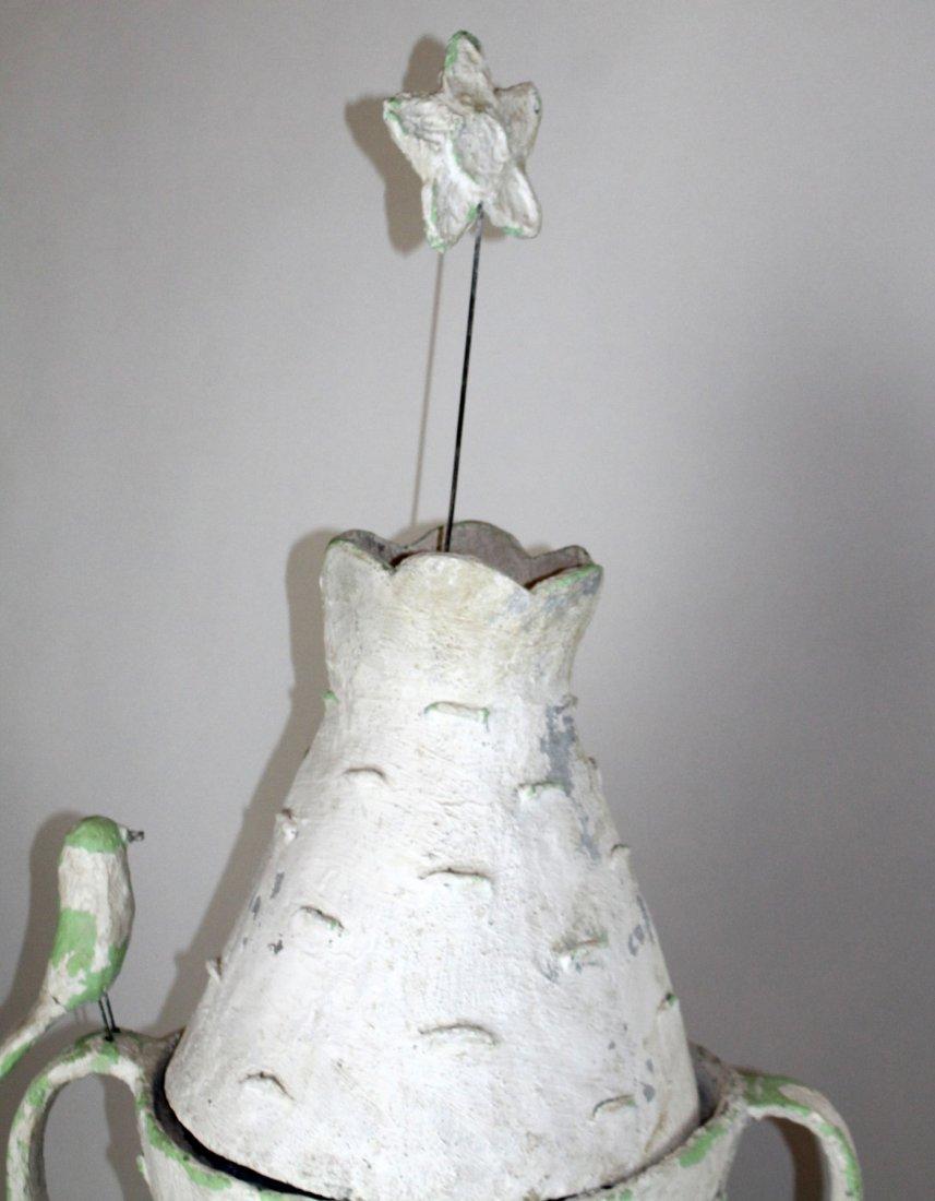 Pair French faux bois bark vases - 3