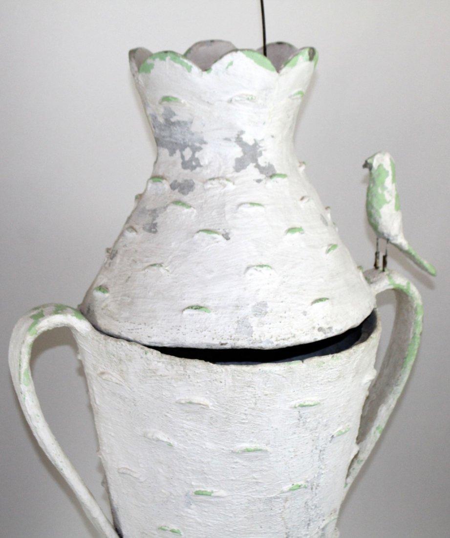 Pair French faux bois bark vases - 5
