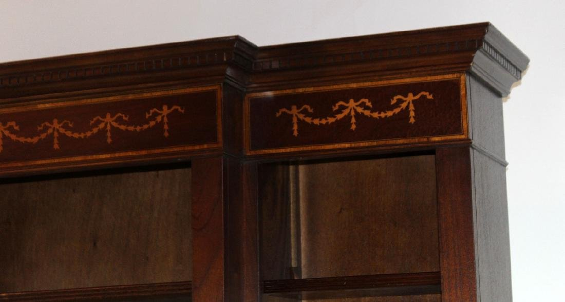 Mahogany open bookcase with ribbon detail - 2
