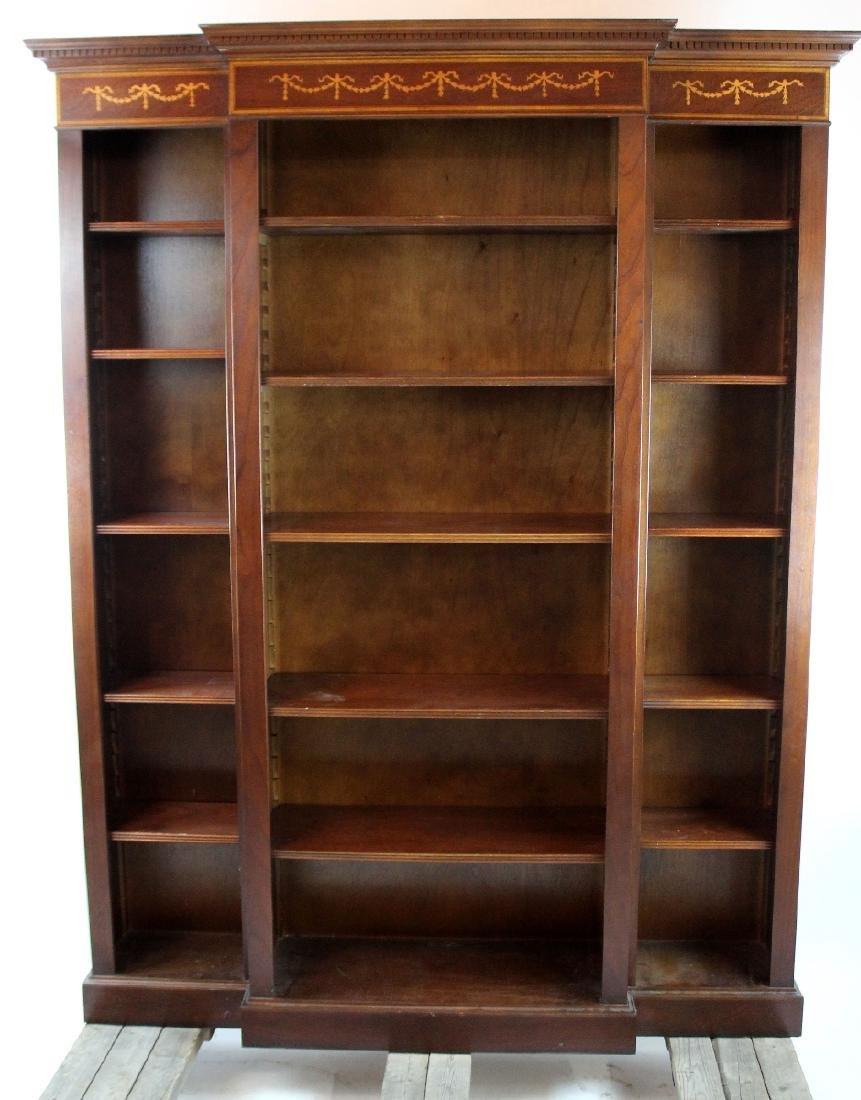 Mahogany open bookcase with ribbon detail - 3