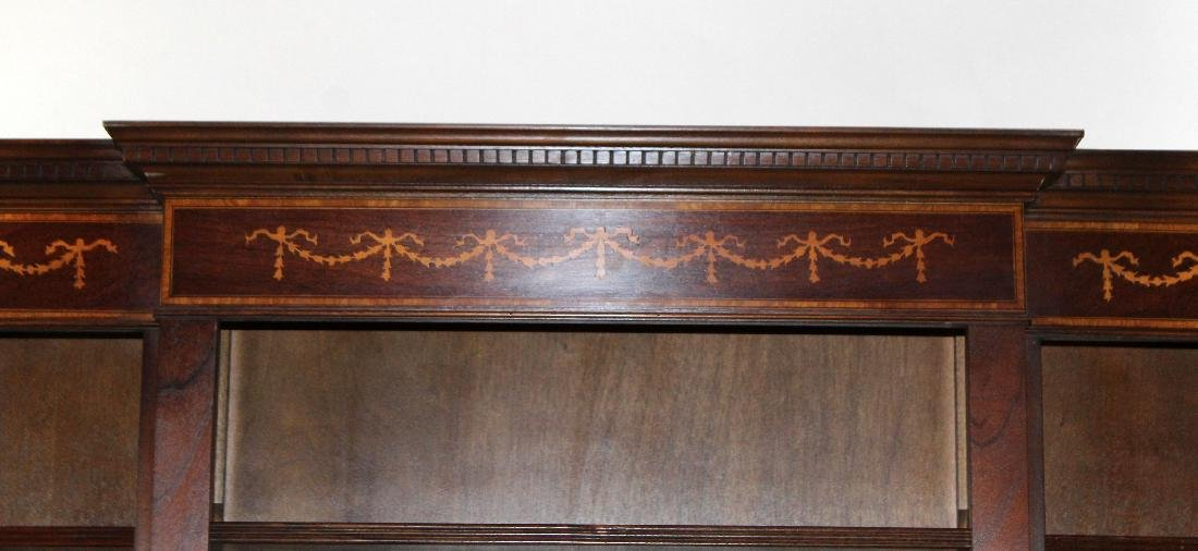 Mahogany open bookcase with ribbon detail - 4