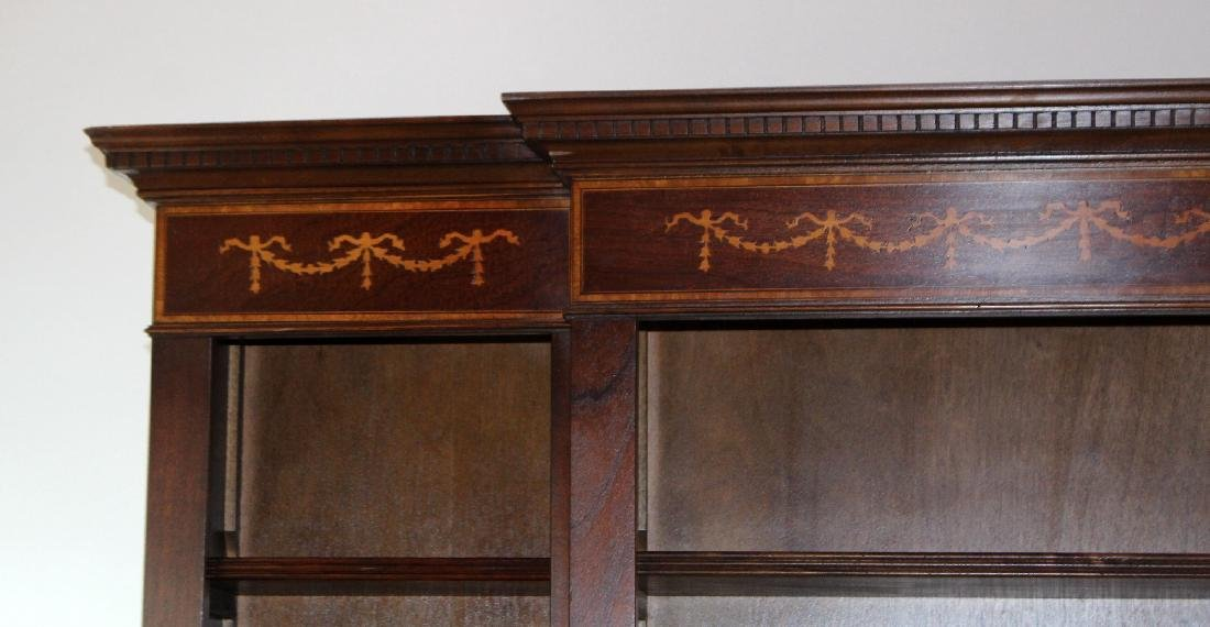 Mahogany open bookcase with ribbon detail - 5