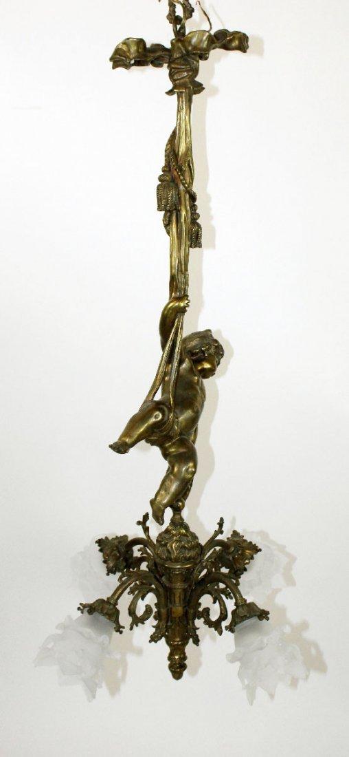 French Louis XVI gilt bronze cherub chandelier