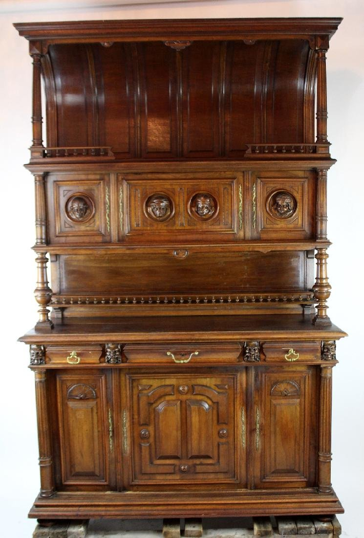 French Mannerist hooded buffet in walnut